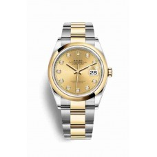Réplica Rolex Datejust 36 Rolesor Oyster Acero oro amarillo 126203 Champagne-colour Diamantes Dial Reloj