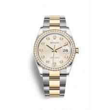 Réplica Rolex Datejust 36 Rolesor Oyster Acero oro amarillo 126283RBR plata Jubilee Diamantes Dial Reloj