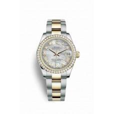 Réplica Rolex Datejust 31 Rolesor Oyster Acero oro amarillo 178383 Blanco mother-of-pearl Dial Reloj