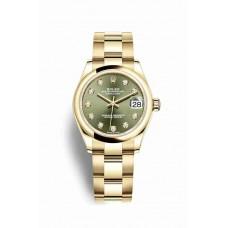Réplica Rolex Datejust 31 oro amarillo 278248 Olive verde Diamantes Dial Reloj