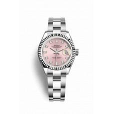 Réplica Rolex Datejust 28 Blanco Rolesor OysterAcero Oro blanco 279174 Rosado Diamantes Dial Reloj