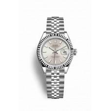 Réplica Rolex Datejust 28 Blanco Rolesor OysterAcero Oro blanco 279174 plata Dial Reloj
