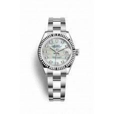 Réplica Rolex Datejust 28 Blanco Rolesor OysterAcero Oro blanco 279174 Blanco mother-of-pearl Diamantes Dial Reloj