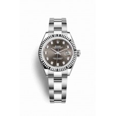 Réplica Rolex Datejust 28 Blanco Rolesor OysterAcero Oro blanco 279174 Gris Oscuro Diamantes Dial Reloj