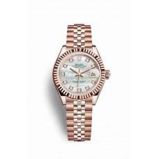 Réplica Rolex Datejust 28 Everose oro 279175 Blanco mother-of-pearl Diamantes Dial Reloj