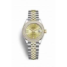 Réplica Rolex Datejust 28 Rolesor Oyster Acero oro amarillo 279383RBR Champagne-colour Diamantes Dial Reloj