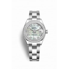 Réplica Rolex Datejust 28 Blanco Rolesor OysterAcero Oro blanco 279384RBR Blanco mother-of-pearl Diamantes Dial Reloj