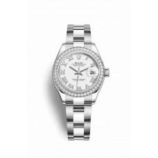 Réplica Rolex Datejust 28 Blanco Rolesor OysterAcero Oro blanco 279384RBR Blanco Dial Reloj