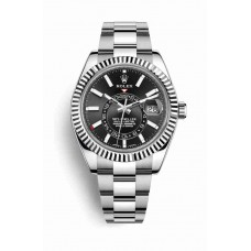 Réplica Rolex Sky-Dweller Blanco Rolesor OysterAcero Oro blanco 326934 Negro Dial Reloj
