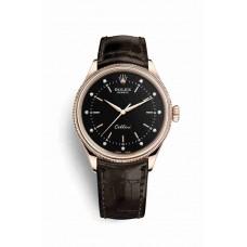 Réplica Rolex Cellini Time Everose oro 50505 Negro Diamantes Dial Reloj