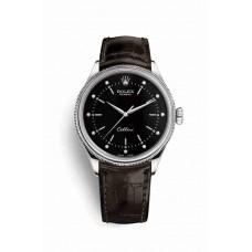 Réplica Rolex Cellini Time Oro blanco 50509 Negro Diamantes Dial Reloj