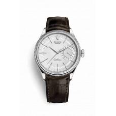 Réplica Rolex Cellini Date Oro blanco 50519 plata guilloche Dial Reloj