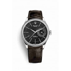 Réplica Rolex Cellini Date Oro blanco 50519 Negro guilloche Dial Reloj