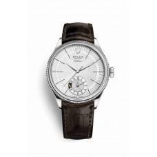 Réplica Rolex Cellini Dual Time Oro blanco 50529 plata guilloche Dial Reloj