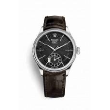 Réplica Rolex Cellini Dual Time Oro blanco 50529 Negro guilloche Dial Reloj