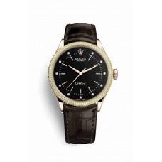 Réplica Rolex Cellini Time Everose oro 50605RBR Negro Diamantes Dial Reloj