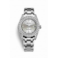 Réplica Rolex Pearlmaster 34 Oro blanco lugs Diamantes 81159 plata Dial Reloj