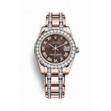 Réplica Rolex Pearlmaster 34 Everose oro 81285 Negro mother-of-pearl Dial Reloj