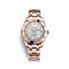 Réplica Rolex Pearlmaster 34 Everose oro 81315 Blanco mother-of-pearl Diamantes Dial Reloj