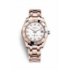 Réplica Rolex Pearlmaster 34 Everose oro 81315 Blanco Diamantes Dial Reloj