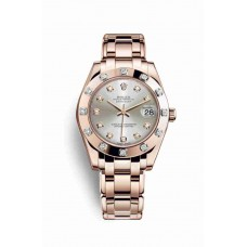 Réplica Rolex Pearlmaster 34 Everose oro 81315 plata Diamantes Dial Reloj