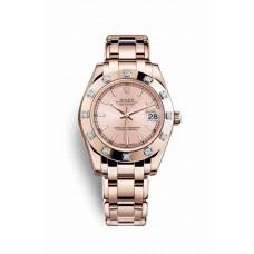Réplica Rolex Pearlmaster 34 Everose oro 81315 Rosado Dial Reloj