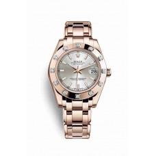 Réplica Rolex Pearlmaster 34 Everose oro 81315 plata Dial Reloj