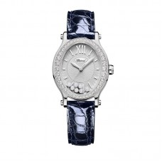 Chopard Happy Sport Oval Automatica Diamond Oro blanco Azul Cuero 31mm para mujer