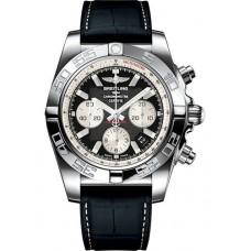 Breitling Chronomat 44 Acero inoxidable / Negro ónix / Caucho de cocodrilo / Plegable (AB011012 / B967 / 296S / A20D.4) Réplicas