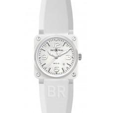 Réplica Bell & Ross BR 03-92 Cerámica blanca Rubber Automático 42mm hombres reloj