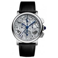 Rotonde de Cartier Perpetual Calendar Chronograph 18 kt White Gold hombres Reloj W1556226