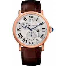 Rotonde de Cartier Silver Dial GMT 18kt Oro rosado hombres Reloj W1556240