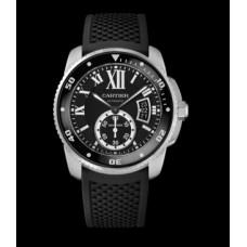 Calibre De Cartier Diver Negro Dial Caucho hombres Reloj W7100056