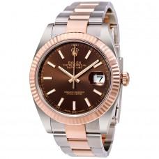 Réplicas Rolex Datejust 41 126331CHSO Chocolate Dial de acero y 18K Everose Gold Watch