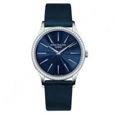 Patek Philippe Calatrava Esfera azul Diamante 18kt Oro blanco Senoras Reloj 4897G-001