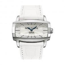 Patek Philippe Gondolo Gemma Madre perla Marcar Blanco Cuero Senoras Reloj 4980G