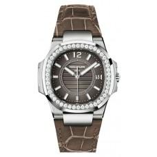 Patek Philippe Nautilus Anthracite Gray, marron Cuero Senoras Reloj 7010G-010