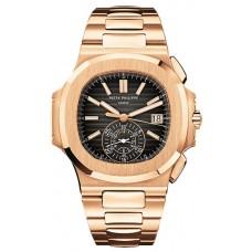 Patek Philippe Nautilus Marcar negro 18kt Oro rosa Chronograph Automatico hombres Reloj 5980-1R-001
