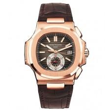 Patek Philippe Nautilus negro-esfera marron 18kt Oro rosa Case Matt Dark 5980R-001
