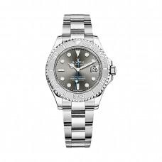 Réplicas Rolex Yacht-Master 268622 Dial de acero de rodio y Oyster Platinum reloj mediano RSO